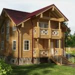 Дома из оцилиндрованного бревна, два этажа, 245 м²